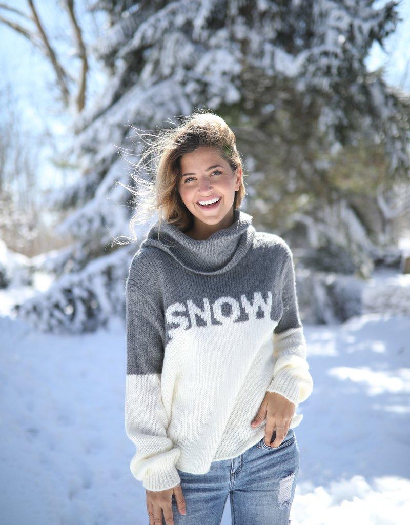 Snow Cowl Neck Gunmetal/Snow