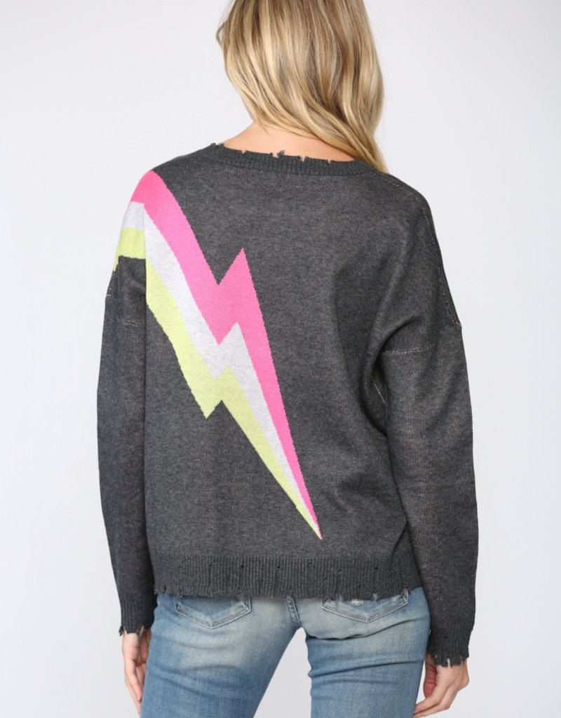 Lightning Bolt Distressed Sweater Charcoal