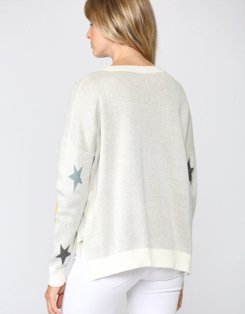 Multi Color Star Sweater Cream