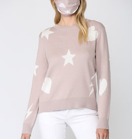 Mixed Print Distressed Sweater w/ Mask Blush