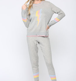 Lightning Bolt Color Blocked Sweater w/ Matching Mask Grey