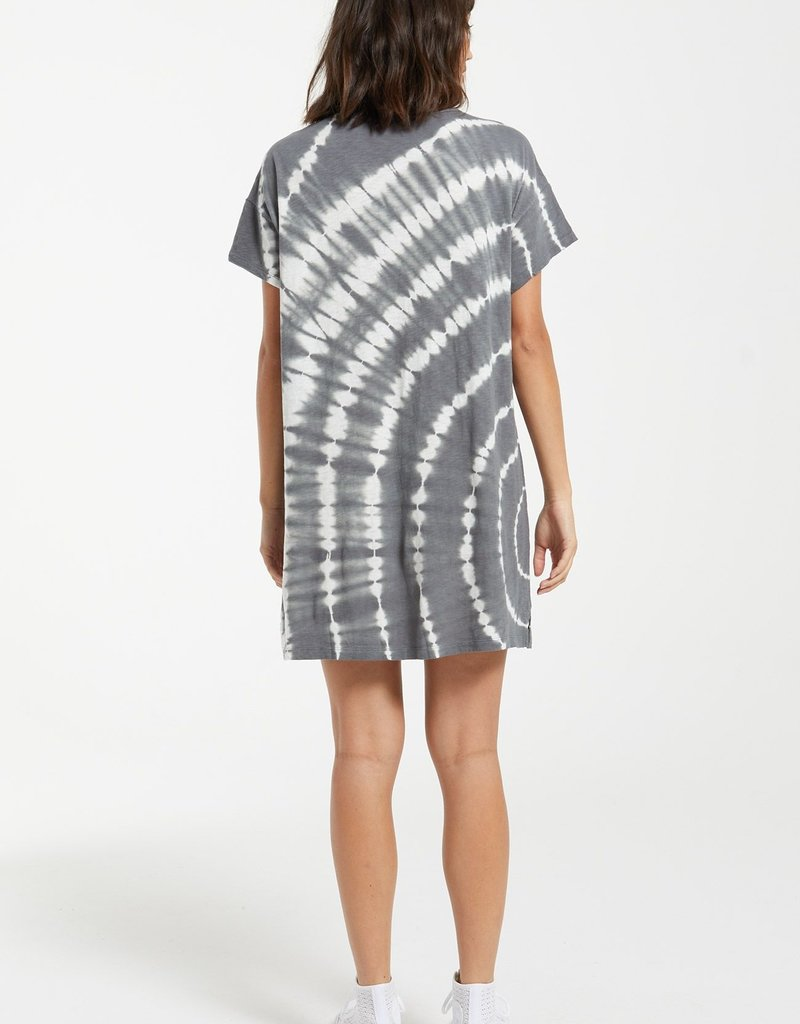 Launa Swirl Tie Dye Dress Charcoal