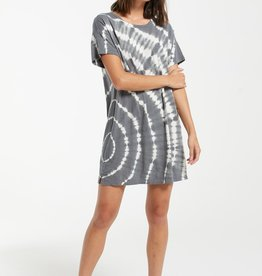 Launa Swirl Tie Dye Dress Charcoal