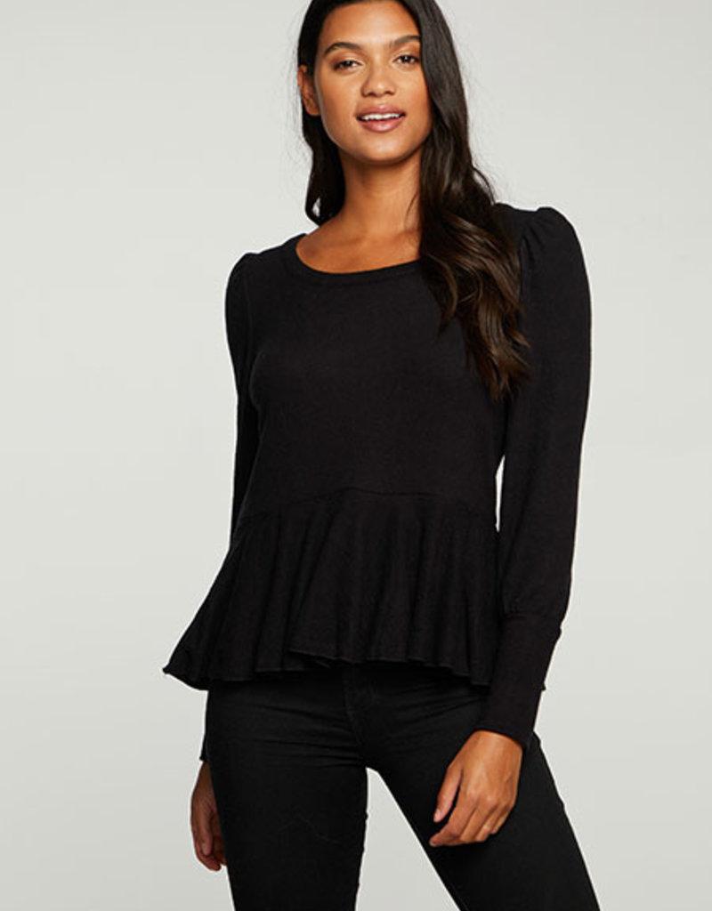 Puff Sleeve Peplum Pullover Black