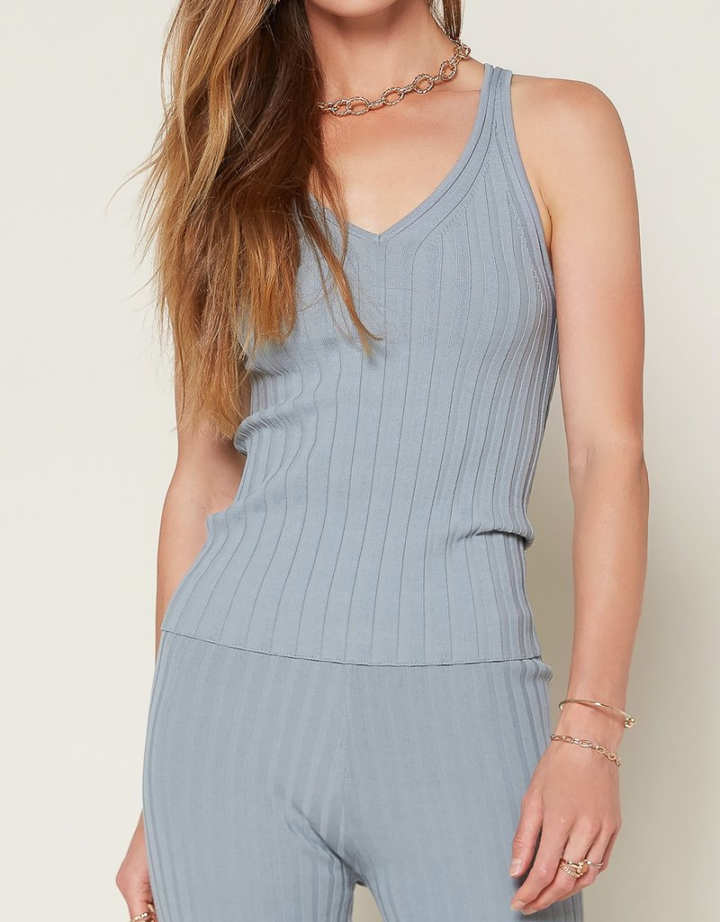 Sweater Ribbed Tank Blue