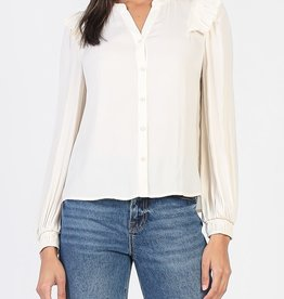 LS Blouse w/ Ruffle Shoulder Taupe