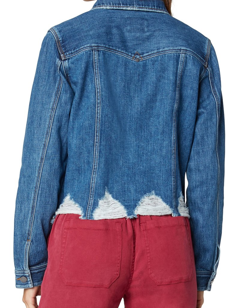 Classic Denim Jacket w/ Shredded Hem Blue