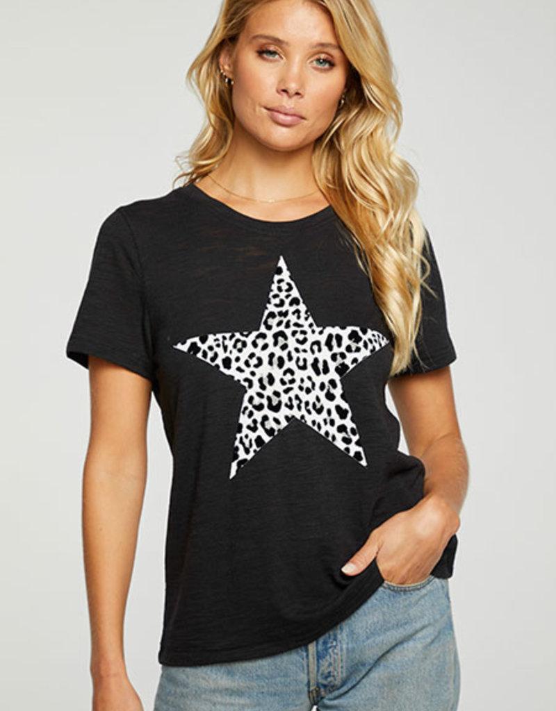 Leopard Star Crew Tee Black