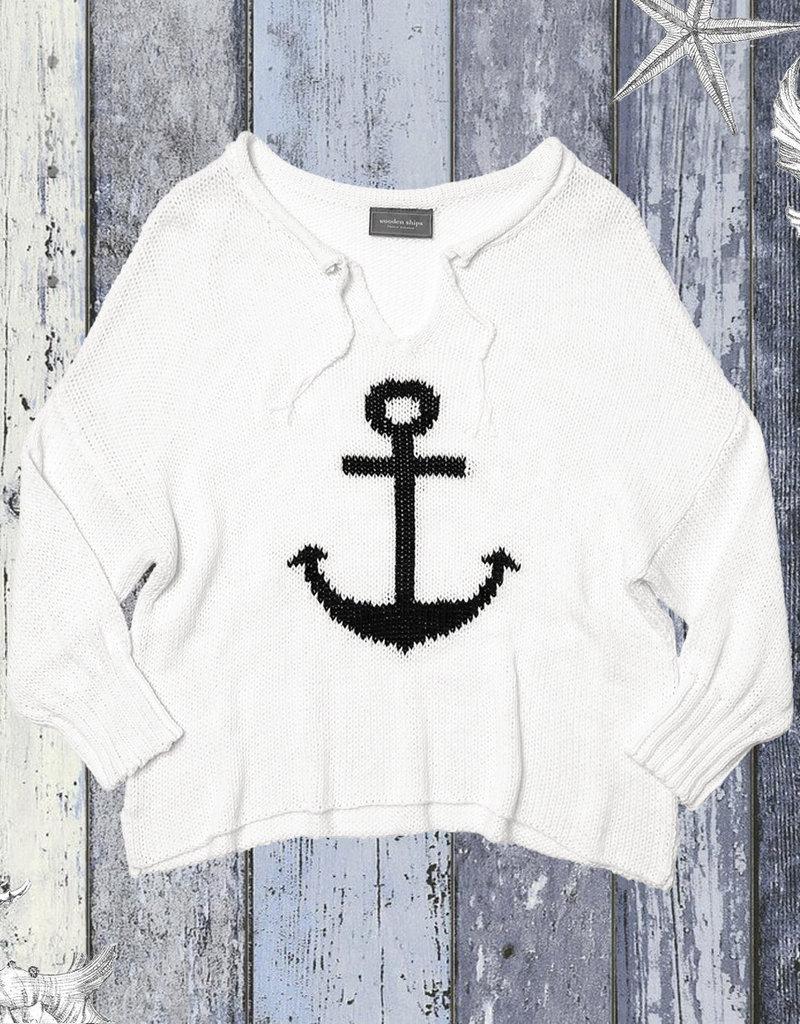 Anchor V Neck Sweater White/Indigo