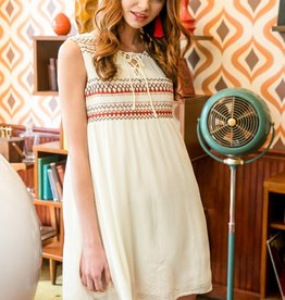 Sleeveless Lace Up Embroidered Dress