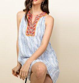 Stripe Halter Embroidered Dress