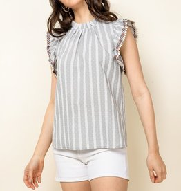 Striped Polka Dot Top Gray