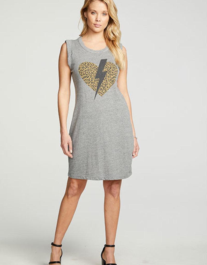 Triblend Jersey Rolled Tank Dress Grey