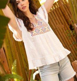 Knit Embroidered Flutter Sleeve Top White