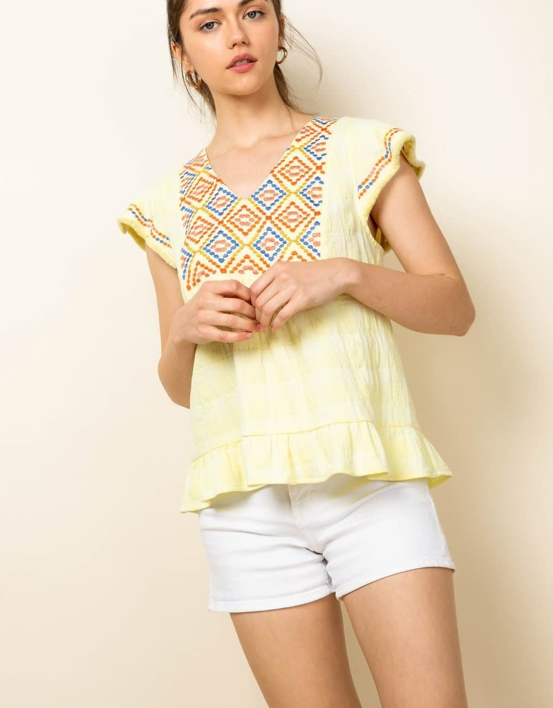 Knit Embroidered Flutter Sleeve Top