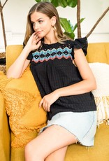 Embroidered Short Sleeve Top Black