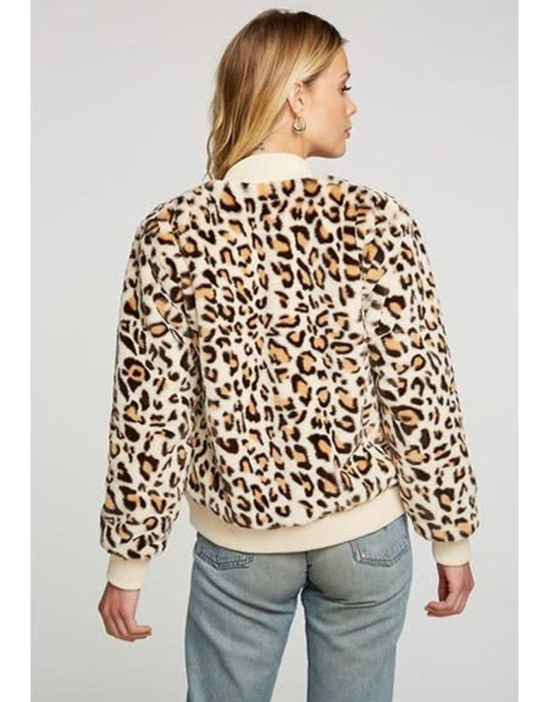 Faux Fur Bomber Jacket Leopard