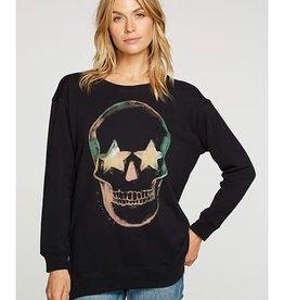 Skull Fleece Pullover Black