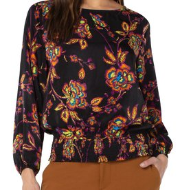 Puff Sleeve Top Neon Floral