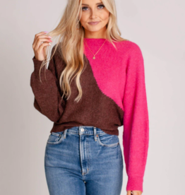 Wavy Color Block Crewneck Sweater Fuschia Cocoa