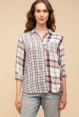 Thread and Supply Mixed Media Plaid Top