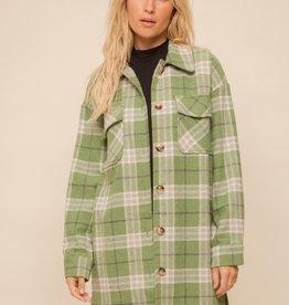 Plaid Shacket Green