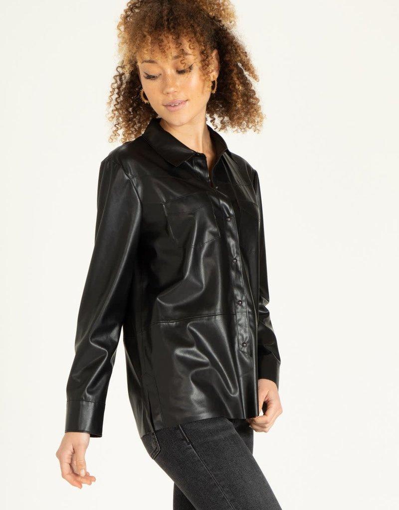 Nola Open Leather Jacket Black