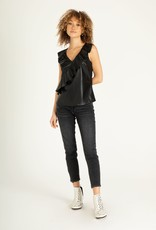 Sky Sleeveless Ruffle Leather Top Black