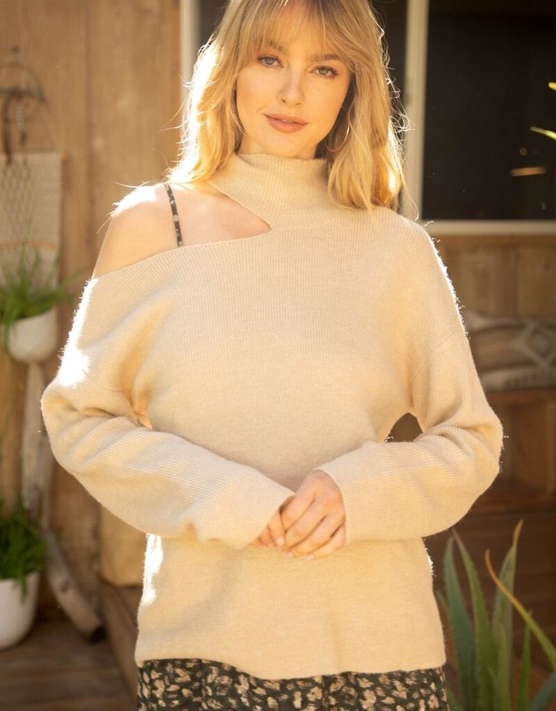Cutout Turtleneck Sweater