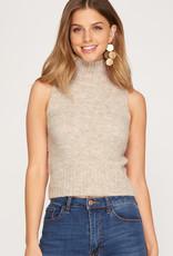 Sleeveless Mock Neck Sweater Top