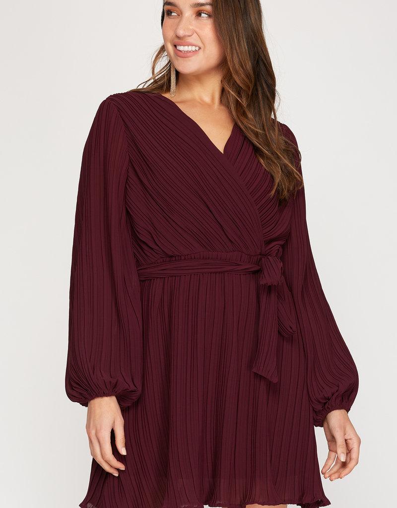 Pleated Woven Dress Plum