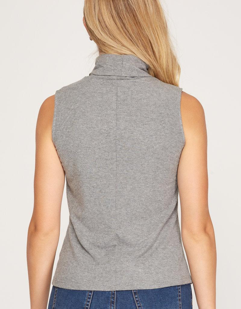 Sleeveless Rib Knit Mock Neck Top