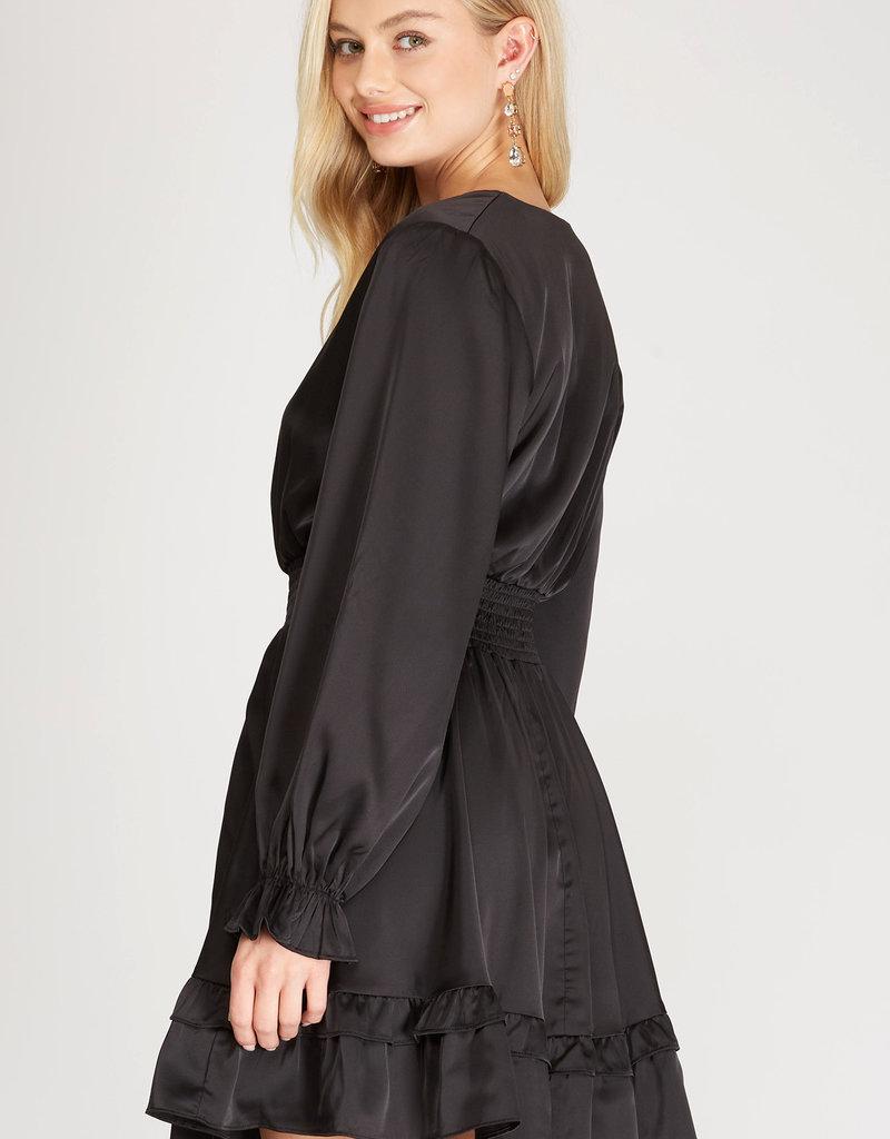 Smocked Waist Flounce Satin Dress Black