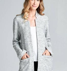 Collarless Long Jacket Grey