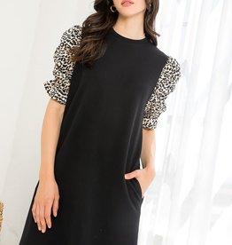 Leopard Sleeve Dress Black