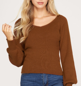 V Neck Long Sleeve Sweater Top