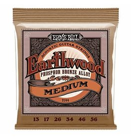 Ernie Ball 2144 Earthwood phosphor bronze acoustic guitar set medium gauges: .013, .017, .026, .034, .046, .056