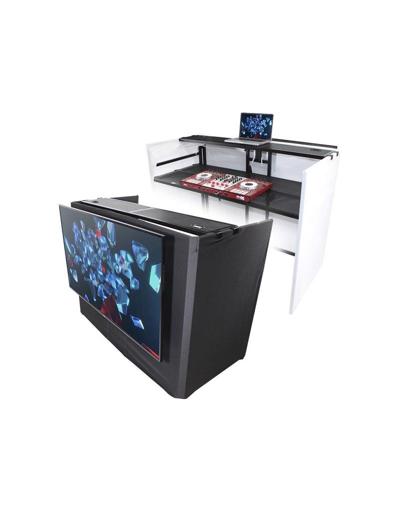 Pro X XF-MESA MEDIA MK2 DJ Facade Table Station Includes TV Mount, 2x Zippered White & Black scrims , 2x White and Black Non-zippered Scrim and Padded Bag
