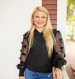 Black Sheer Top With Pom Detail