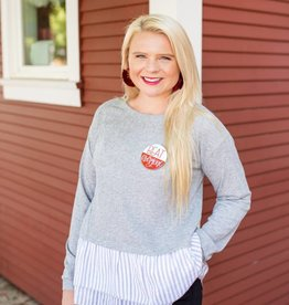 Ellison Grey Sweater with Stripe Detail