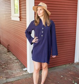 Umgee Long Sleeve Button Up Collared Dress with a Tulip Scoop Hem