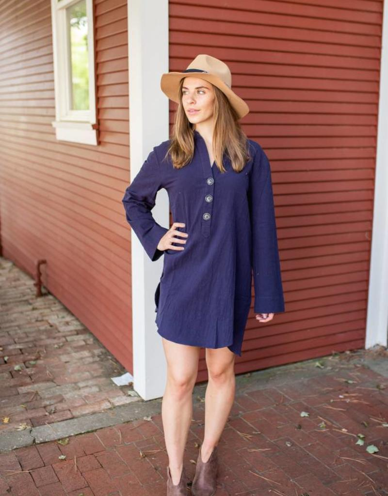 Long Sleeve Button Up Collared Dress with a Tulip Scoop Hem