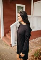 Color Thread Black Drop Shoulder Dress