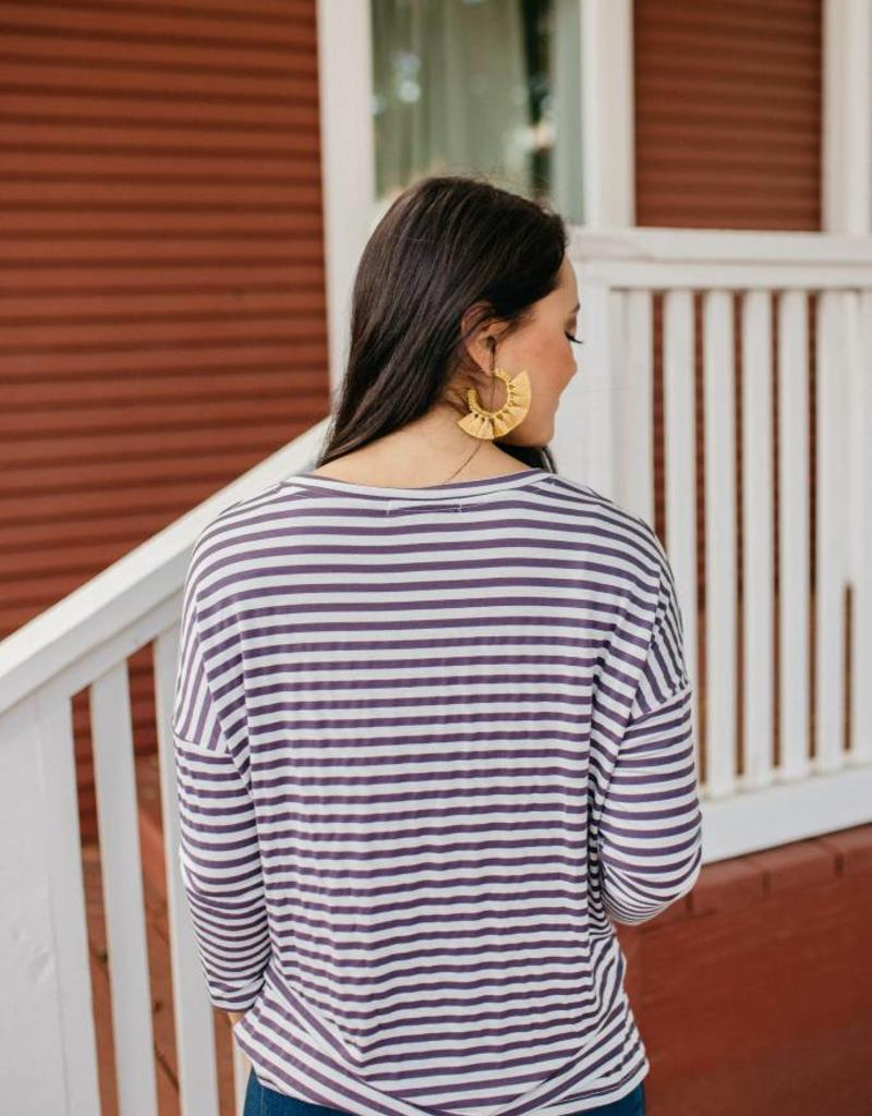 Stripe Three Quarter Top