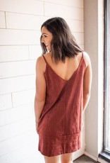 Wine Stri[ed Suede Dress