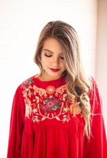 Red Embroidered Um Dress