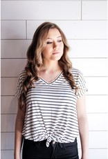 White and Black Striped Knot Tee