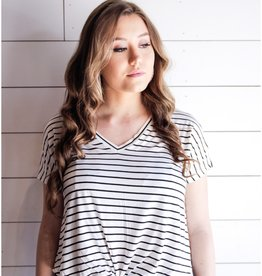 Double Zero White and Black Striped Knot Tee