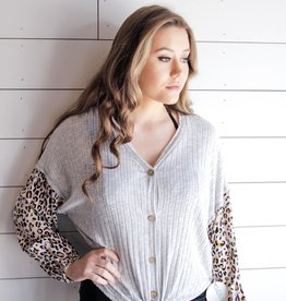 Leopard Sleeve Detail Top
