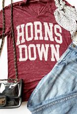 Horns Down Crimson V-neck